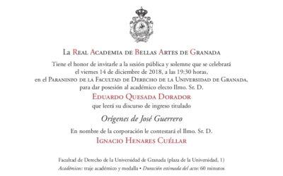 Toma de posesión del Académico electo del Ilmo. Sr. D. Eduardo Quesada Dorador.