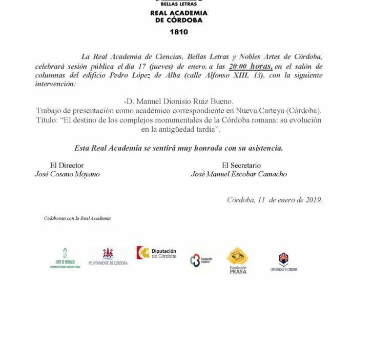 """D. Manuel Dionisio Ruiz Bueno: """"El destino de los complejos monumentales de la Córdoba romana: su evolución en la en la antigüedad tardía"""""""