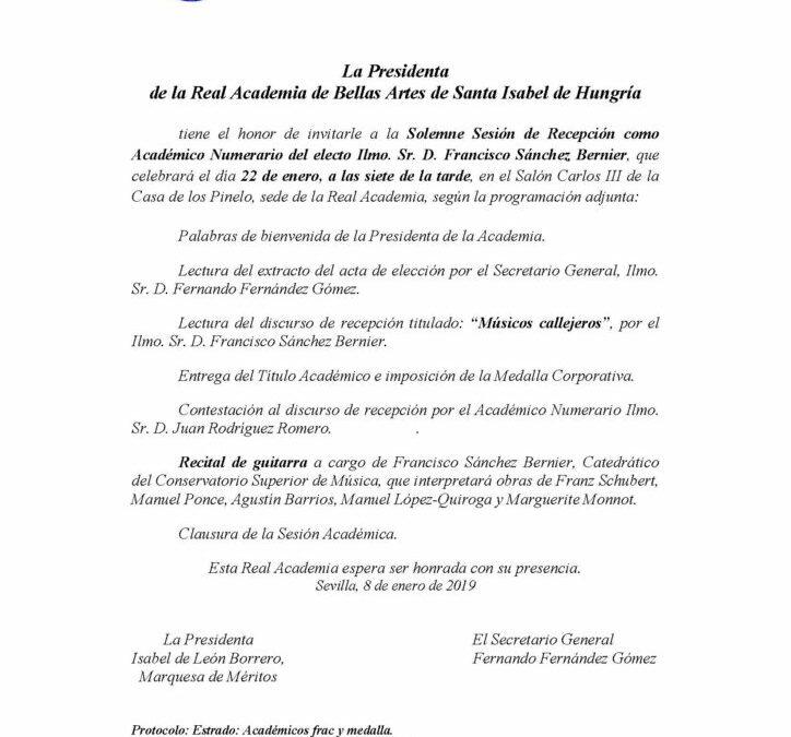 Recepción como Académico Numerario del electo Ilmo. Sr. D. Francisco Sánchez Bernier