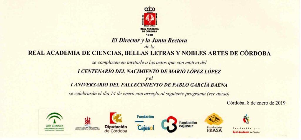 I Centenario del nacimiento de Mario López López y I Aniversario del fallecimiento de Pablo García Baena