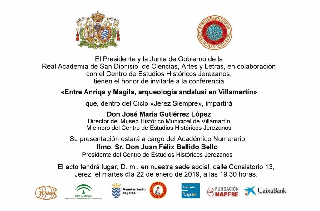 """Conferencia: """"Entre Anriqa y Magila, arqueología andalusí en Villamartín"""""""