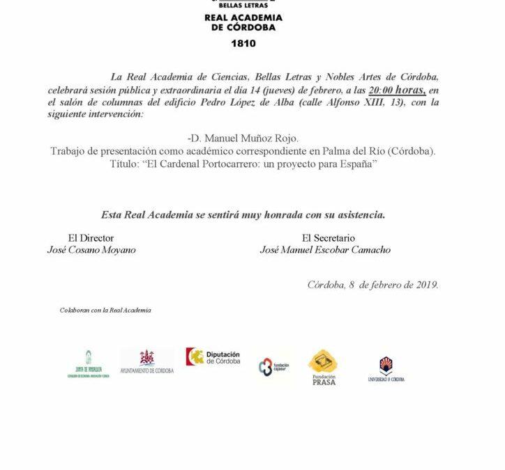 D. Manuel Muñoz Rojo: «El Cardenal Portocarrero: un proyecto para España»