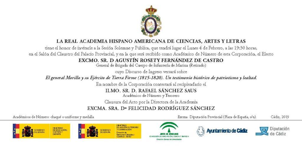 Recepción como Académico de Número del Excmo. Sr. D. Agustín Rosety Fernández de Castro