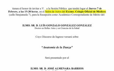Recepción como Académico Correspondiente de Mérito del Ilmo. Sr. D. Luis Gonzalo González González