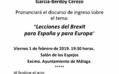 Toma de posesión como Académico de Honor del Excmo. Sr. D. Juan Pablo García-Berdoy Cerezo