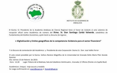 Recepción como Académico de Número del Ilmo. Sr. D. Santiago Carbó Valverde.