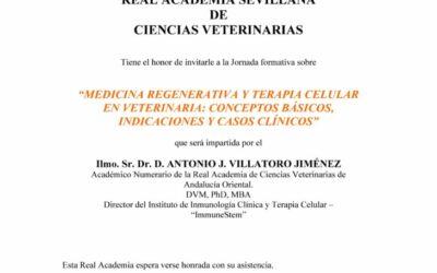 """Jornada formativa: """"Medicina regenerativa y terapia celular en veterinaria: conceptos básicos, indicaciones y casos clínicos"""""""