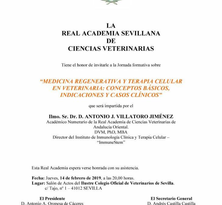 Jornada formativa: «Medicina regenerativa y terapia celular en veterinaria: conceptos básicos, indicaciones y casos clínicos»