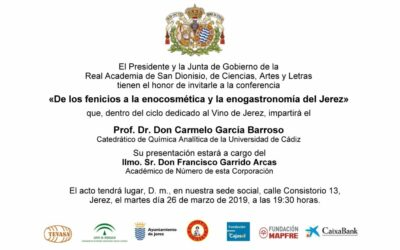 """Conferencia: """"De los fenicios a la enocosmética y la enogastronomía del Jerez"""""""