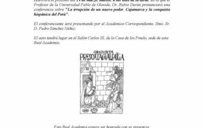 """Conferencia: """"La irrupción de un nuevo poder. Cajamarca y la conquista hispánica del Perú""""."""