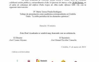 """Dª María Teresa Pineda Rodríguez: """"La tabla periódica de los elementos químicos"""""""