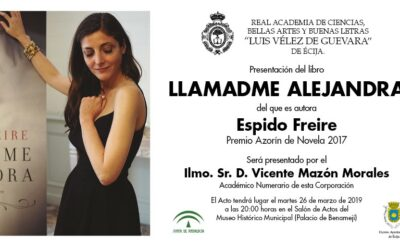 """Presentación del libro """"Llamadme Alejandra"""" de la autora Espido Freire"""