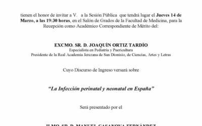 Recepción como Académico Correspondiente de Mérito del Excmo. Sr. D. Joaquín Ortiz Tardío