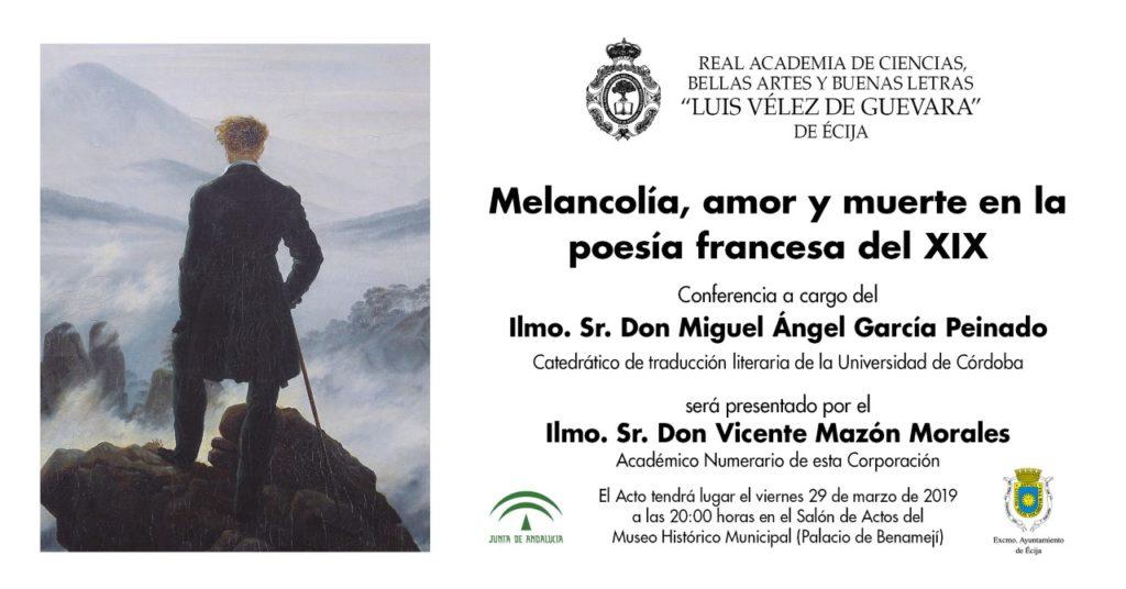 Conferencia: «Melancolía, amor y muerte en la poesía francesa del XIX»