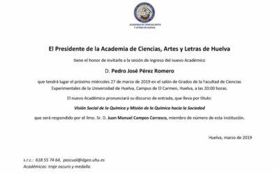 Ingreso como Académico de D. Pedro José Pérez Romero