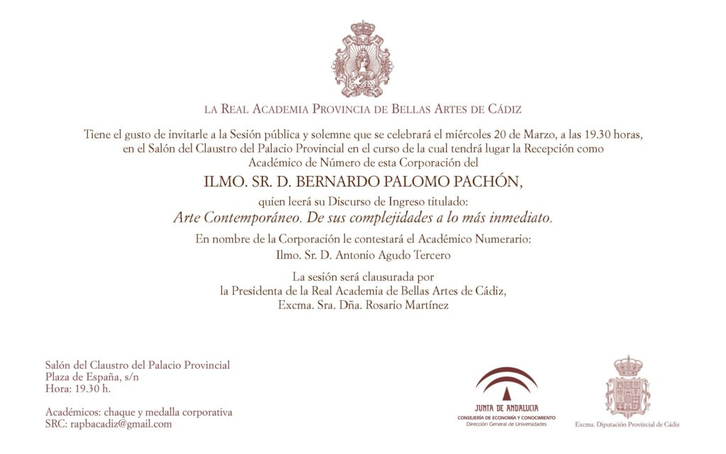 Recepción como Académico de Número del Ilmo. Sr. D. Bernardo Palomo Pachón