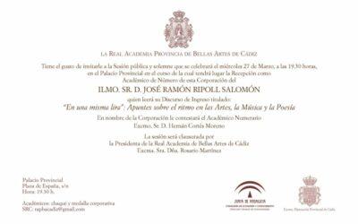 Recepción como Académico de Número del Ilmo. Sr. D. José Ramón Ripoll Salomón