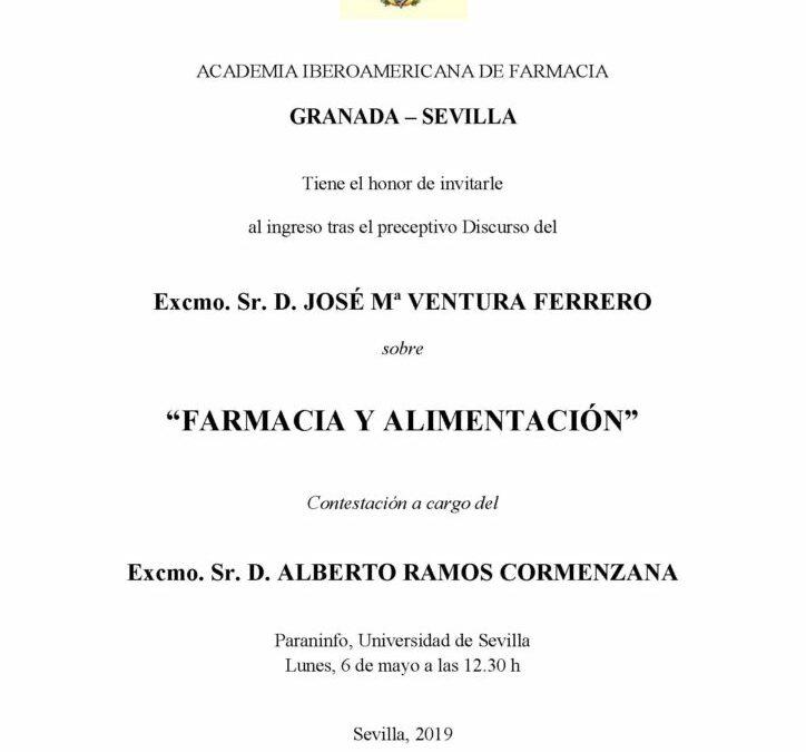 Ingreso como Académico del Excmo. Sr. D. José Mª Ventura Ferrero