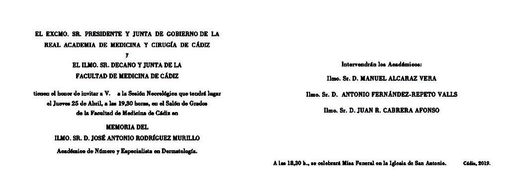 Sesión Necrológica en memoria del Ilmo. Sr. D. José Antonio Rodríguez Murillo