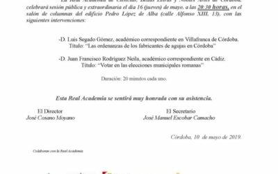 Conferencias a cargo de D. Luis Segado Gómez y D. Juan Francisco Rodríguez Neila