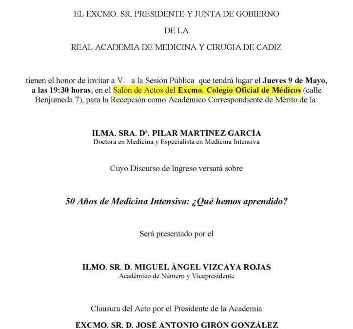 Recepción como Académico Correspondiente de Mérito de la Ilma. Sra. Dª. Pilar Martínez García