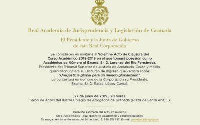 Solemne Acto de Clausura del Curso Académico 2018-2019