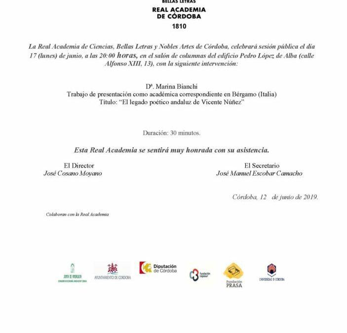 Dª. Marina Bianchi: «El legado poético andaluz de Vicente Núñez»
