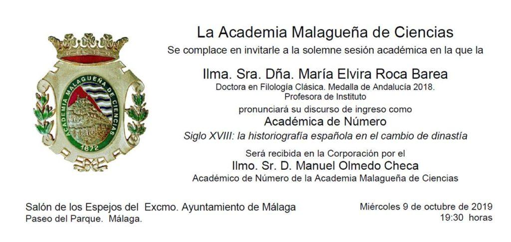 Ingreso como Académica de Número de la Ilma. Sra. Dña. María Elvira Roca Barea