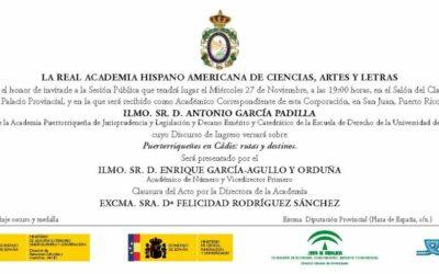 Recepción como Académico Correspondiente del Ilmo. Sr. D. Antonio García Padilla