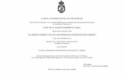 Toma de posesión como Académico Numerario del Ilmo. Sr. D. Joaquín Rodríguez Vidal