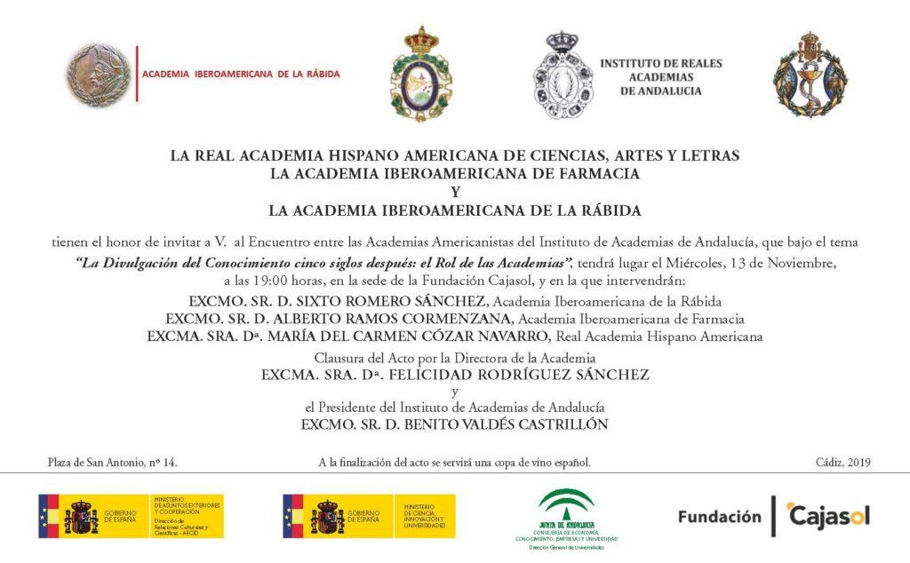 Encuentro entre las Academias Americanistas del Instituto de Academias de Andalucía