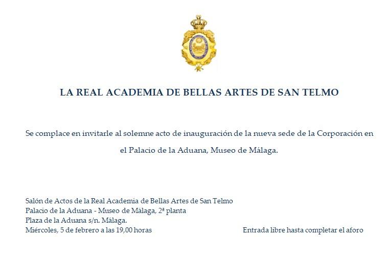 Inauguración de la nueva sede de la Real Academia de Bellas Artes de San Telmo