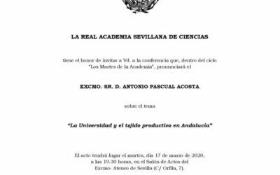 Conferencia: «La Universidad y el tejido productivo en Andalucía».