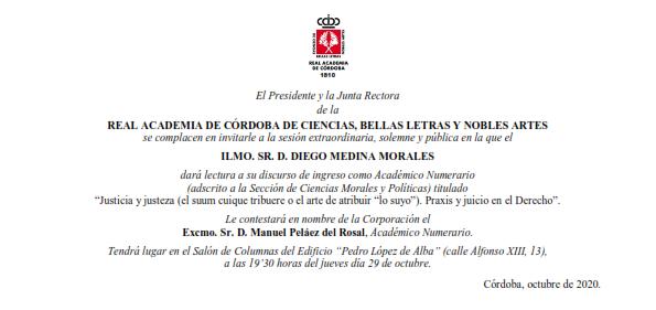 Ingreso como Académico Numerario del Ilmo. Sr. D. Diego Medina Morales