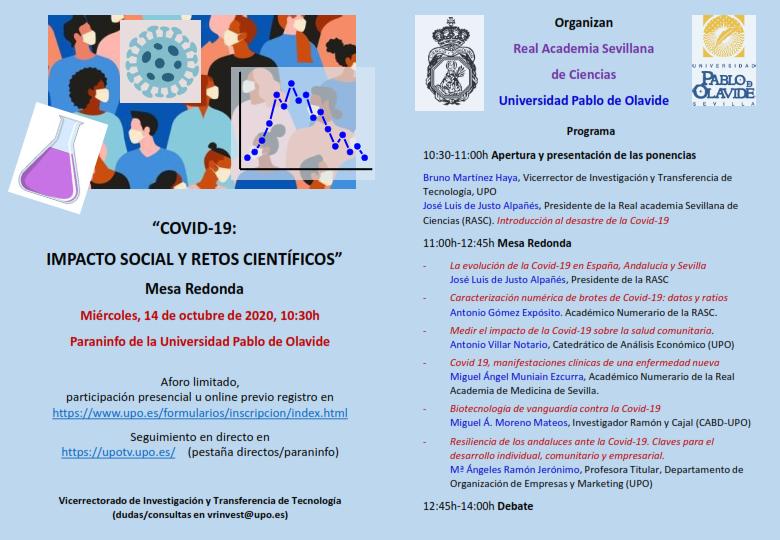 Mesa Redonda: «Covid-19: Impacto social y retos científicos»