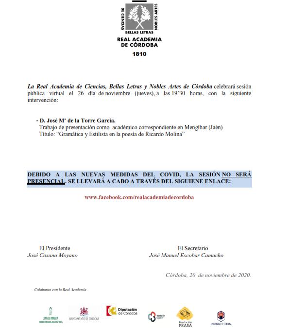 Sesión virtual: Intervención de D. José de la Torre García