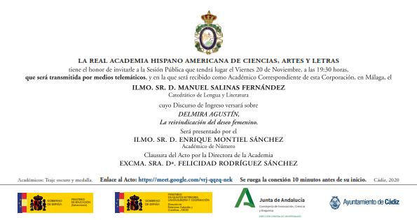 Recepción como Académico Correspondiente del Ilmo. Sr. D. Manuel Salinas Fernández