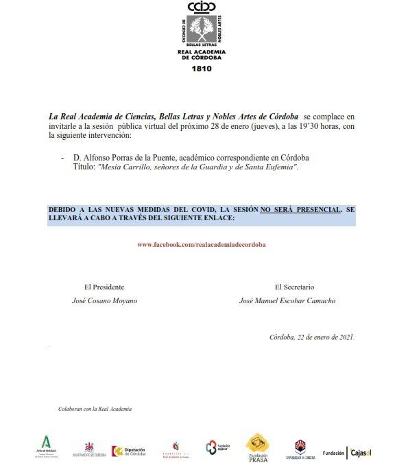 Conferencia: «Mesía Carrillo, señores de la Guardia y de Santa Eufemia»