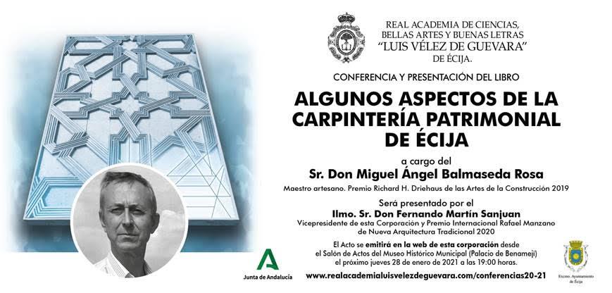 Conferencia y presentación del libro: «Algunos aspectos de la carpintería patrimonial del Écija»