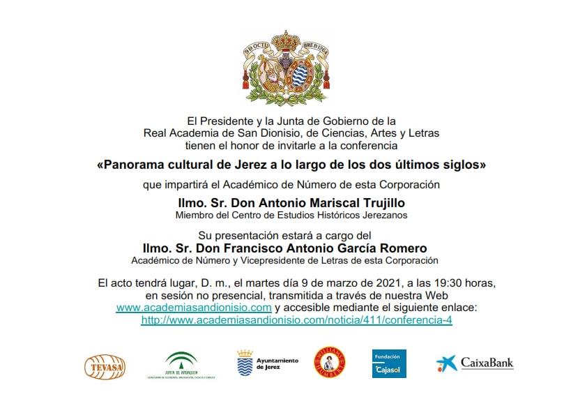 Conferencia: «Panorama cultural de Jerez a lo largo de los dos últimos siglos»