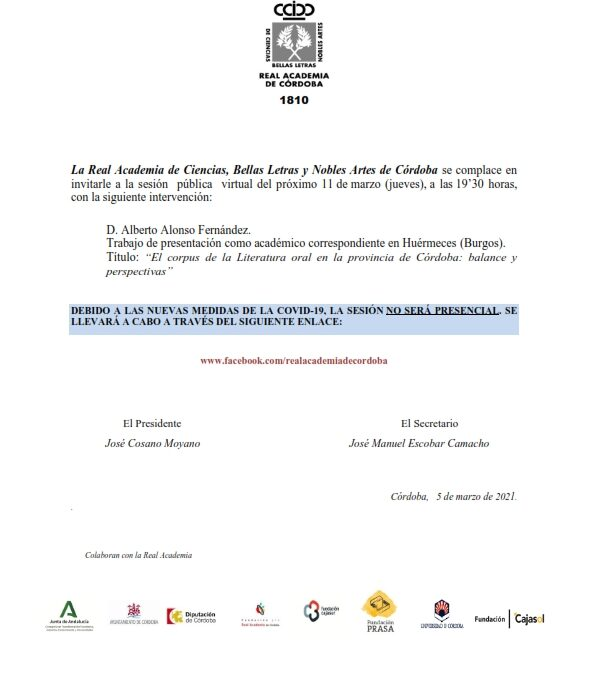Conferencia: «El corpus de la Literatura oral en la provincia de Córdoba: balance y perspectivas»