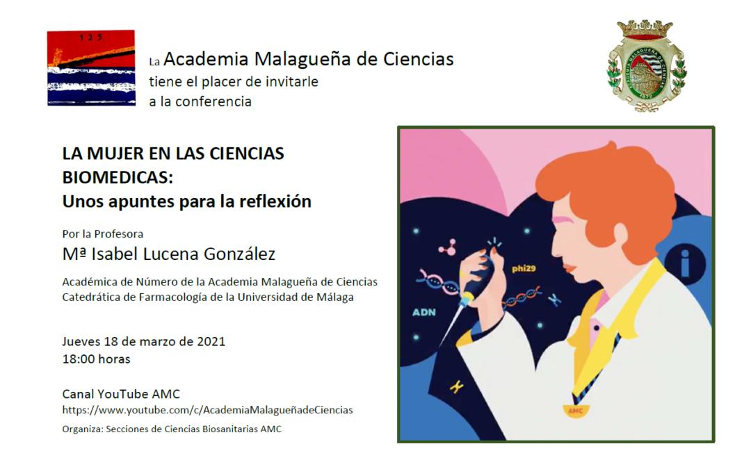 Conferencia: «La mujer en las ciencias biomédicas: Unos apuntes para la reflexión»