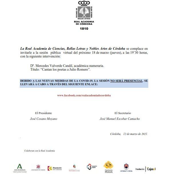 Conferencia: «Cantan los poetas a Julio Romero»