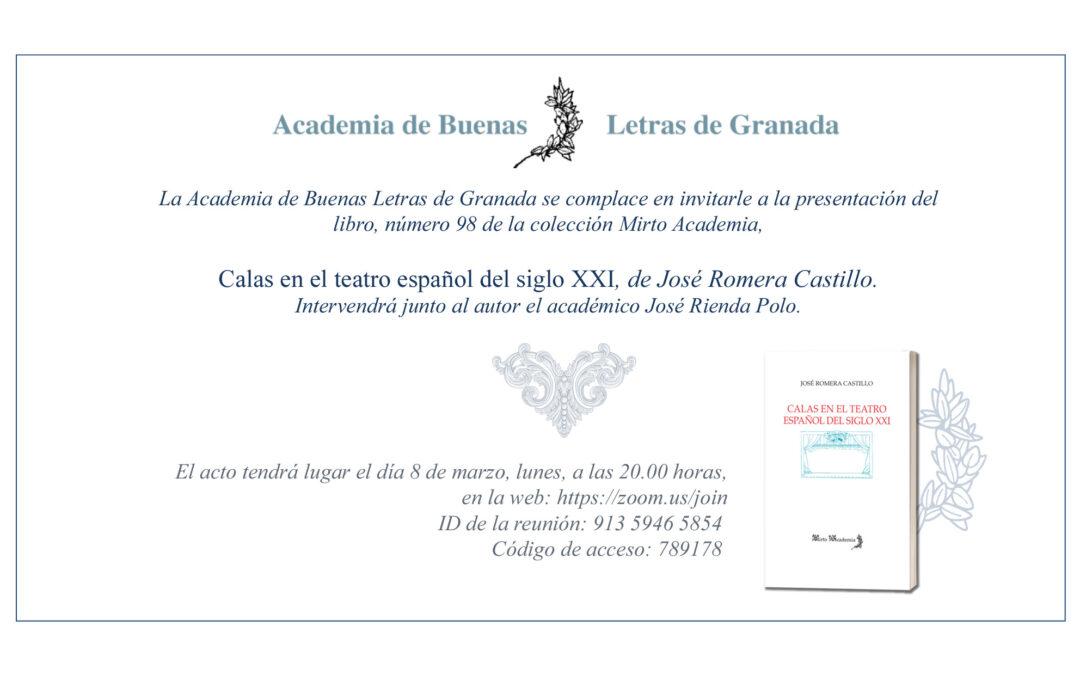 Presentación del libro: «Calas en el teatro español del siglo XXI», de José Romera Castillo