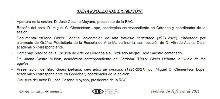 Conmemoración del Centenario del nacimiento del artista y Académico D. Ginés Liébana Velasco