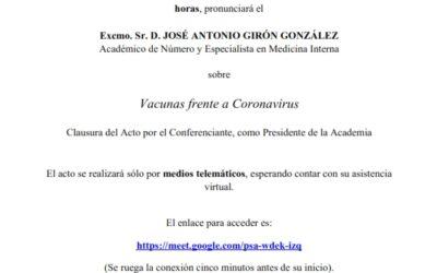 Conferencia: «Vacunas frente a Coronavirus»