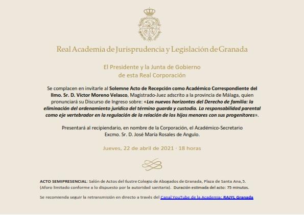 Recepción como Académico Correspondiente del Ilmo. Sr. D. Víctor Moreno Velasco