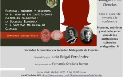 Conferencia: «Pioneras, anónimas y olvidadas en el seno de las instituciones culturales malagueñas: la Sociedad Económica y la Sociedad Malagueña de Ciencias»