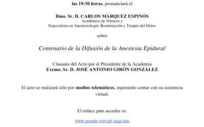 Conferencia: «Centenario de la Difusión de la Anestesia Epidural»