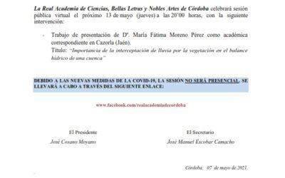 Intervención Dª. María Fátima Moreno Pérez